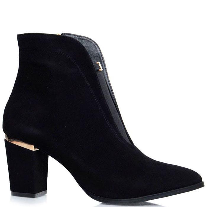 Ботинки Prego черного цвета с золотистым декором и вставкой-резинкой