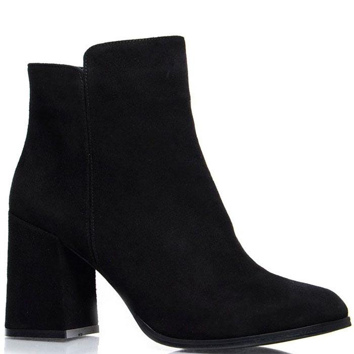Женские ботинки Prego из натуральной замши черного цвета на среднем каблуке