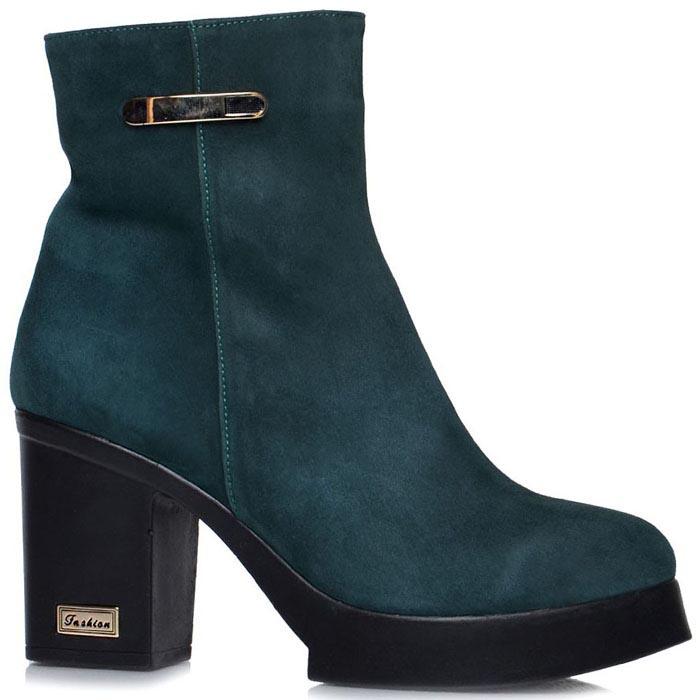 Женские ботинки Prego зеленого цвета на толстом каблуке
