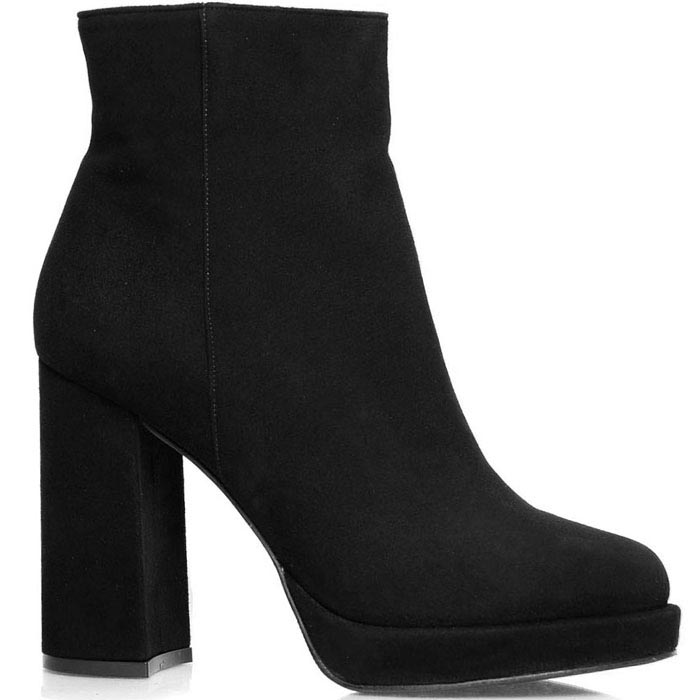 Осенние ботинки Prego из натуральной замши черного цвета на высоком каблуке