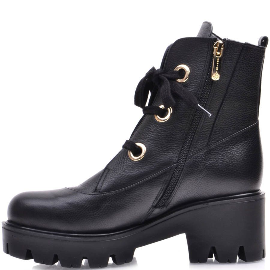 Ботинки Prego зимние черного цвета с золотистыми отверстиями для шнуровки