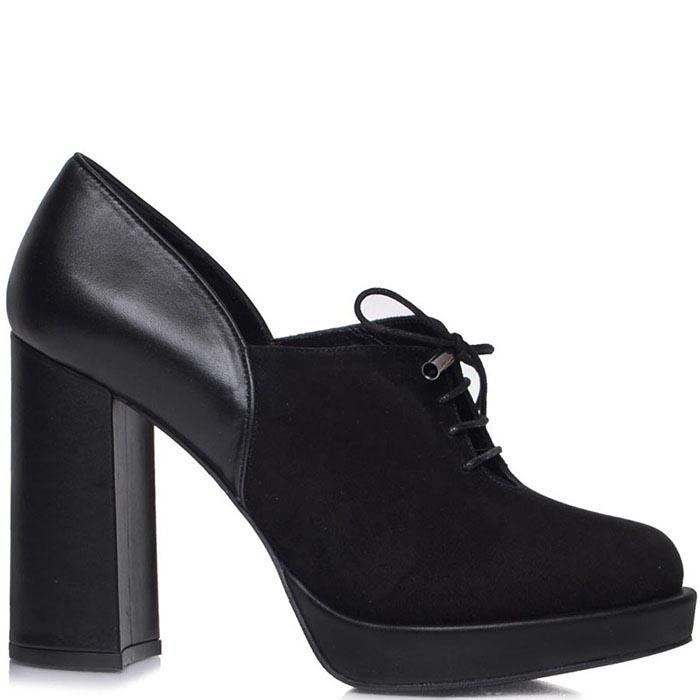Ботильоны Prego черного цвета со шнуровкой на высоком каблуке