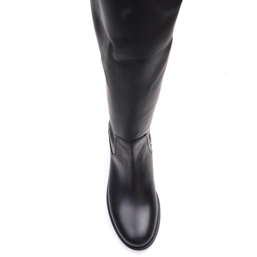 Сапоги Prego осенние высокие черного цвета с рельефной подошвой