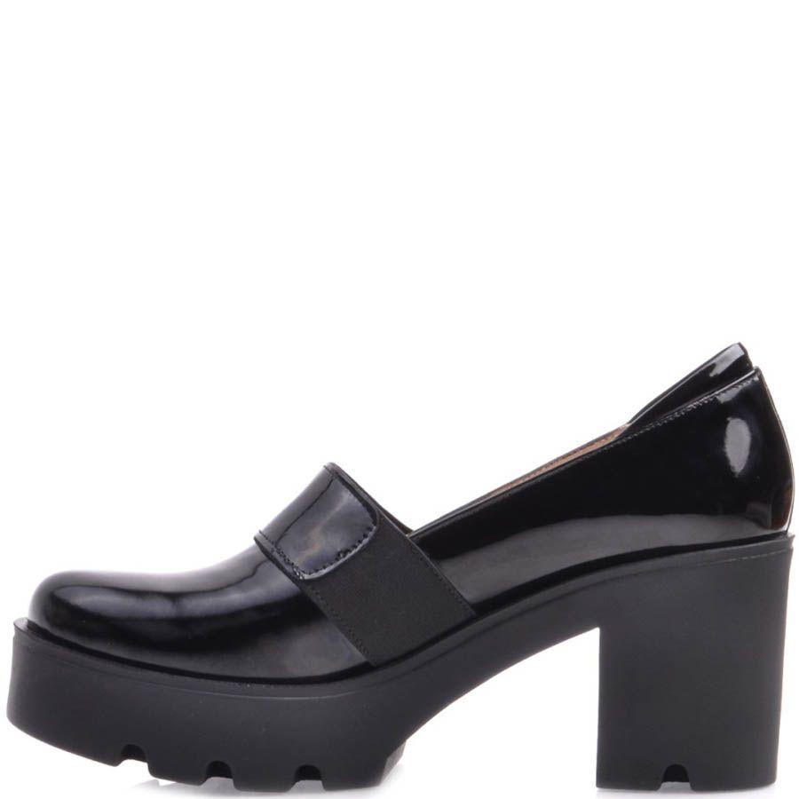 Туфли Prego на устойчивом каблуке и танкетке черного цвета с перемычкой