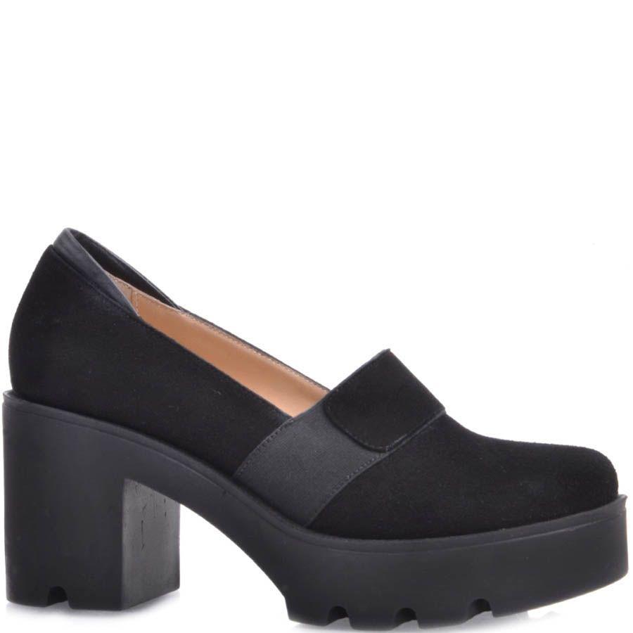 Туфли Prego замшевые на устойчивом каблуке и танкетке черного цвета с перемычкой