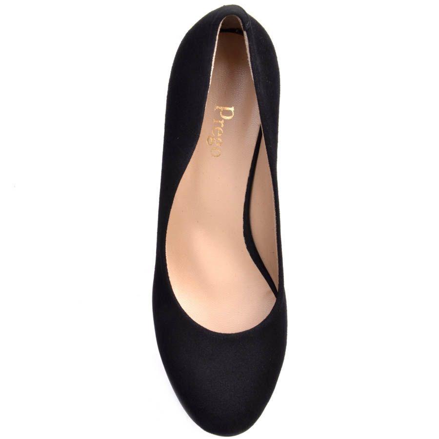 Туфли Prego замшевые черного цвета с высоким толстым каблуком и с высокой танкеткой