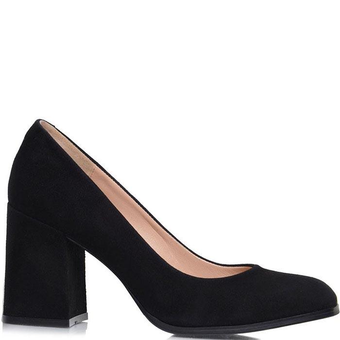 Туфли Prego из натуральной замши черного цвета на среднем каблуке