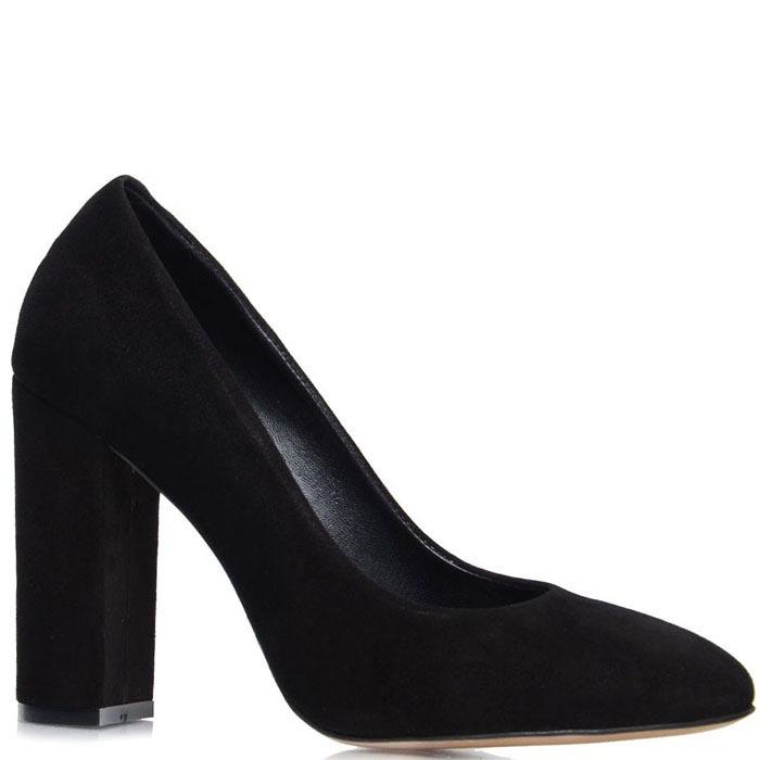 Замшевые туфли Prego черного цвета на высоком каблуке