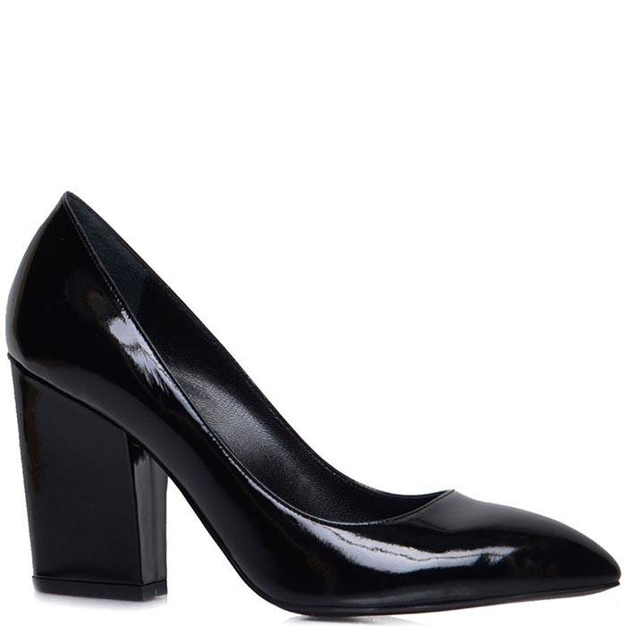 Лаковые туфли-лодочки Prego черного цвета на толстом каблуке