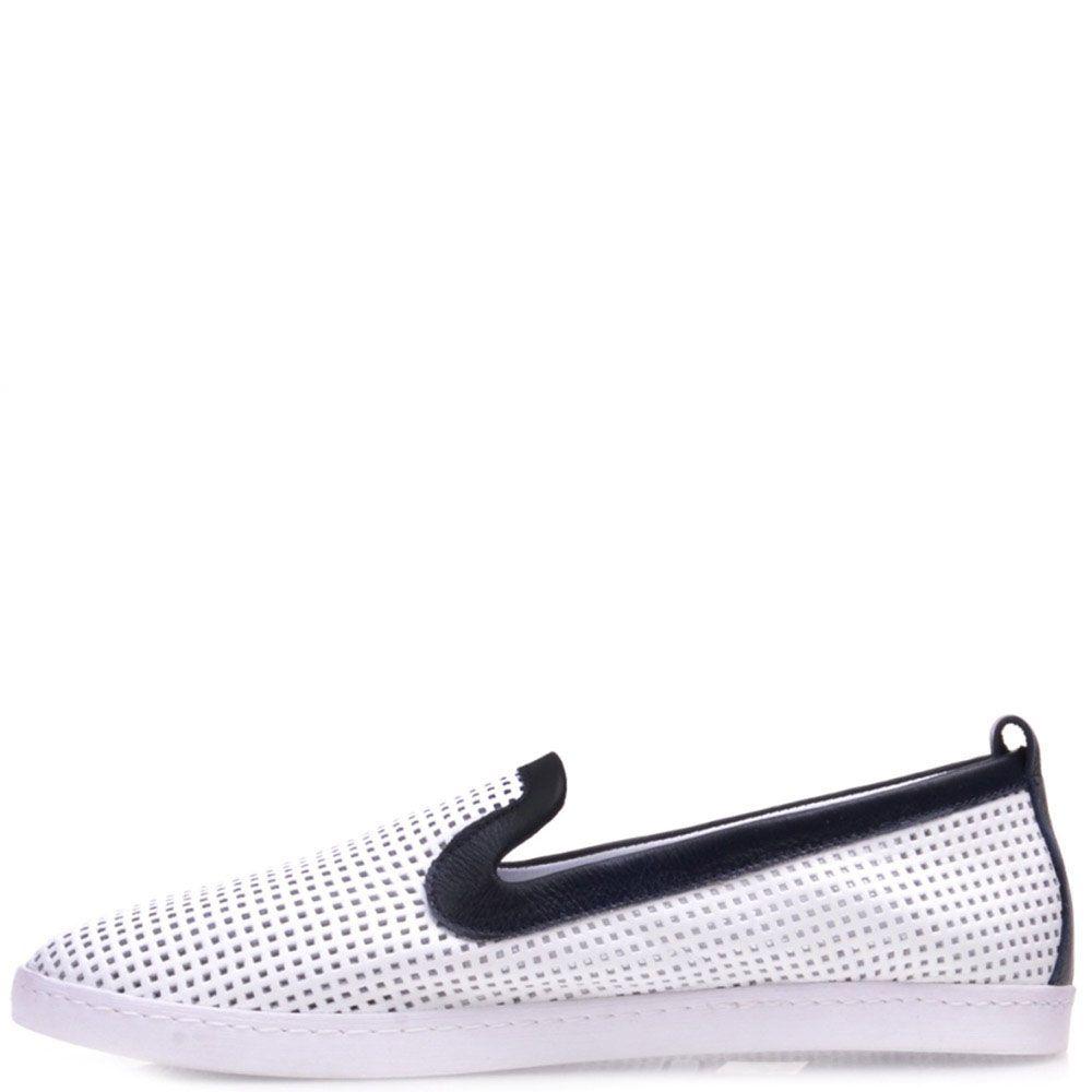 Туфли Prego из белой кожи с перфорацией