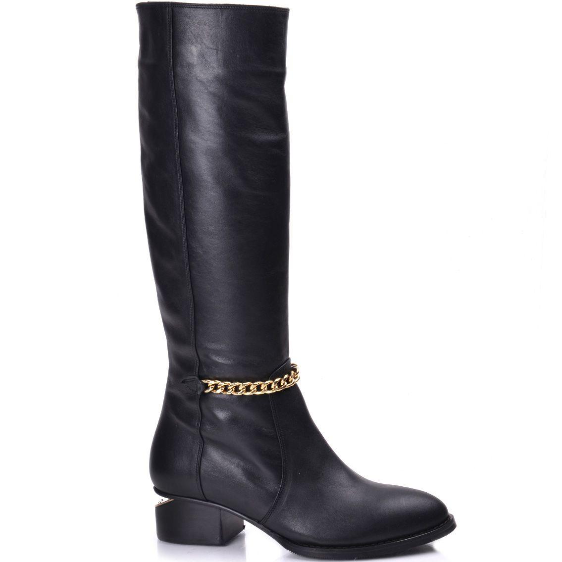 Кожаные черные осенние сапоги на широком каблуке Nilufarr с цепью-декором