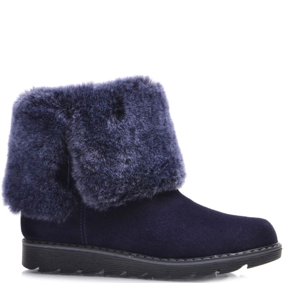 Ботинки Prego зимние замшевые синего цвета с меховым отворотом и зубчастой подошвой