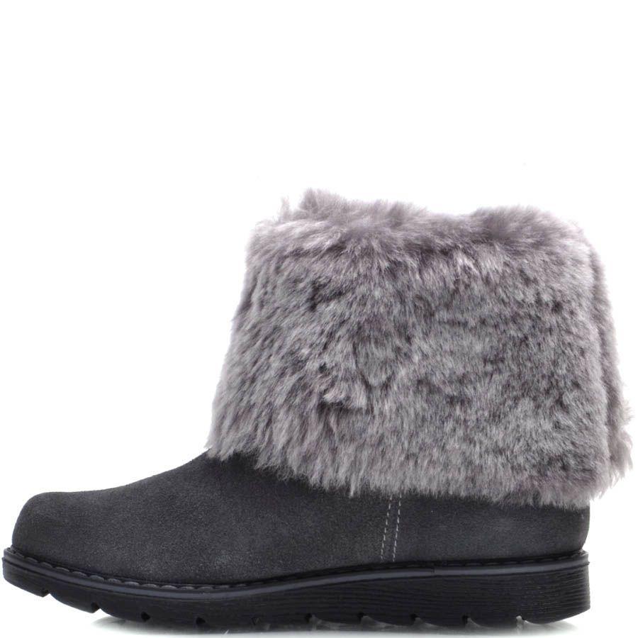 Ботинки Prego зимние замшевые серого цвета с меховым отворотом и зубчастой подошвой