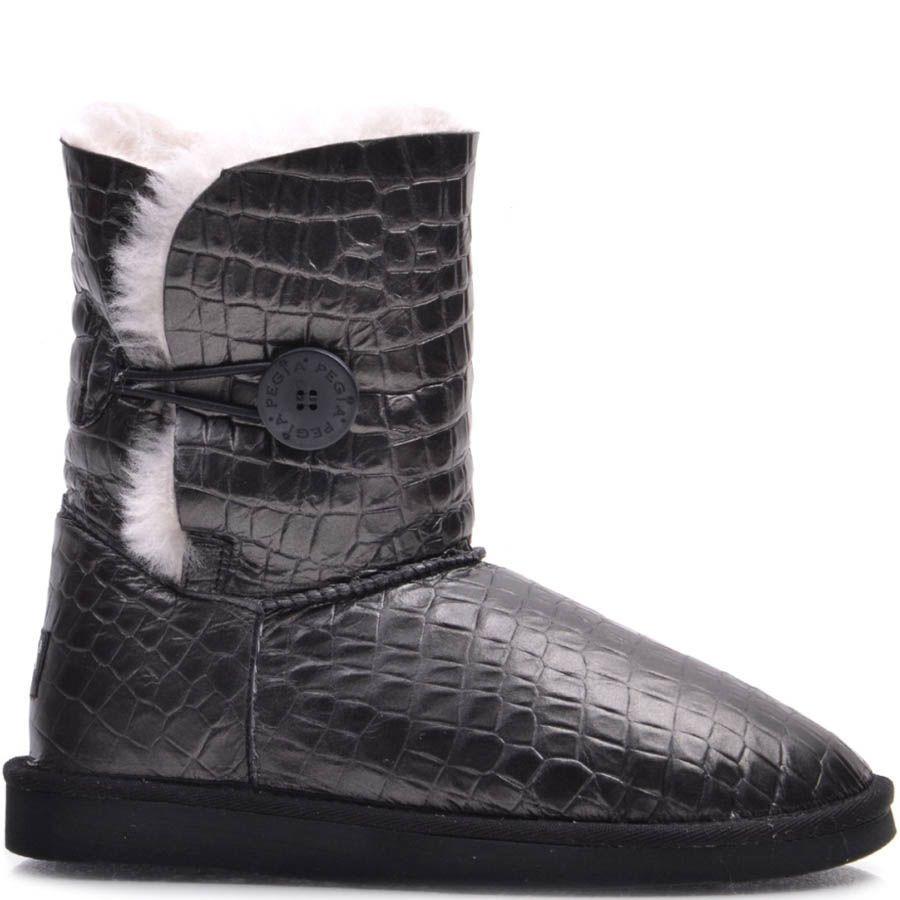 Угги Pegia серого цвета кожаные с тиснением под крокодила