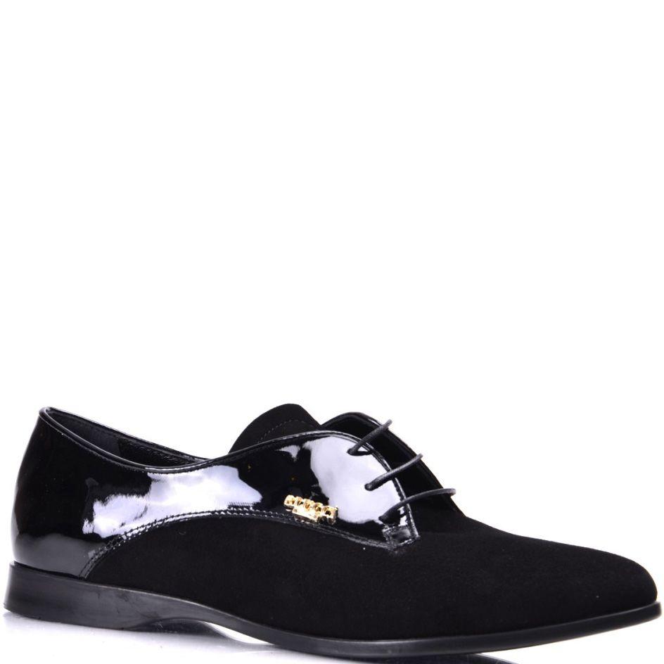 Черные женские туфли на шнуровке Pier Lucci из замши и лаковой кожи