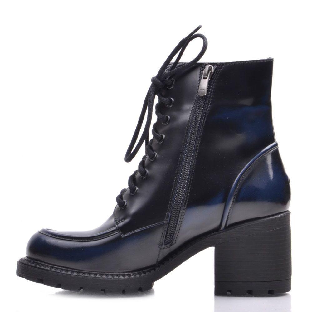 Ботинки Prego из натуральной глянцевой кожи с сине-черным градиентом