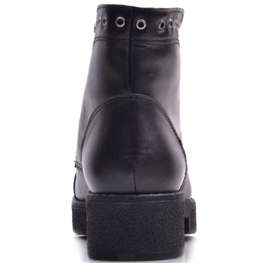 Ботинки Prego кожаные черные с отверстиями для шнурков вдоль всего верха