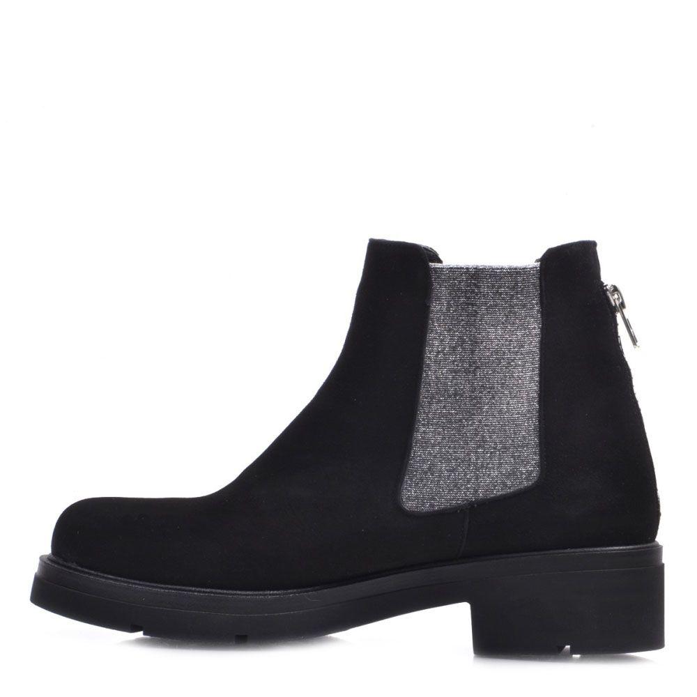 Черные ботинки Prego из натуральной замши со вставками-резинками серебристого цвета