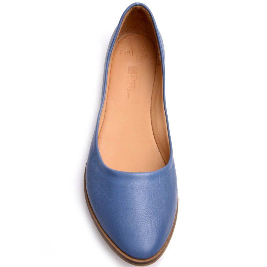 Балетки Prego синего цвета с глубоким вырезом