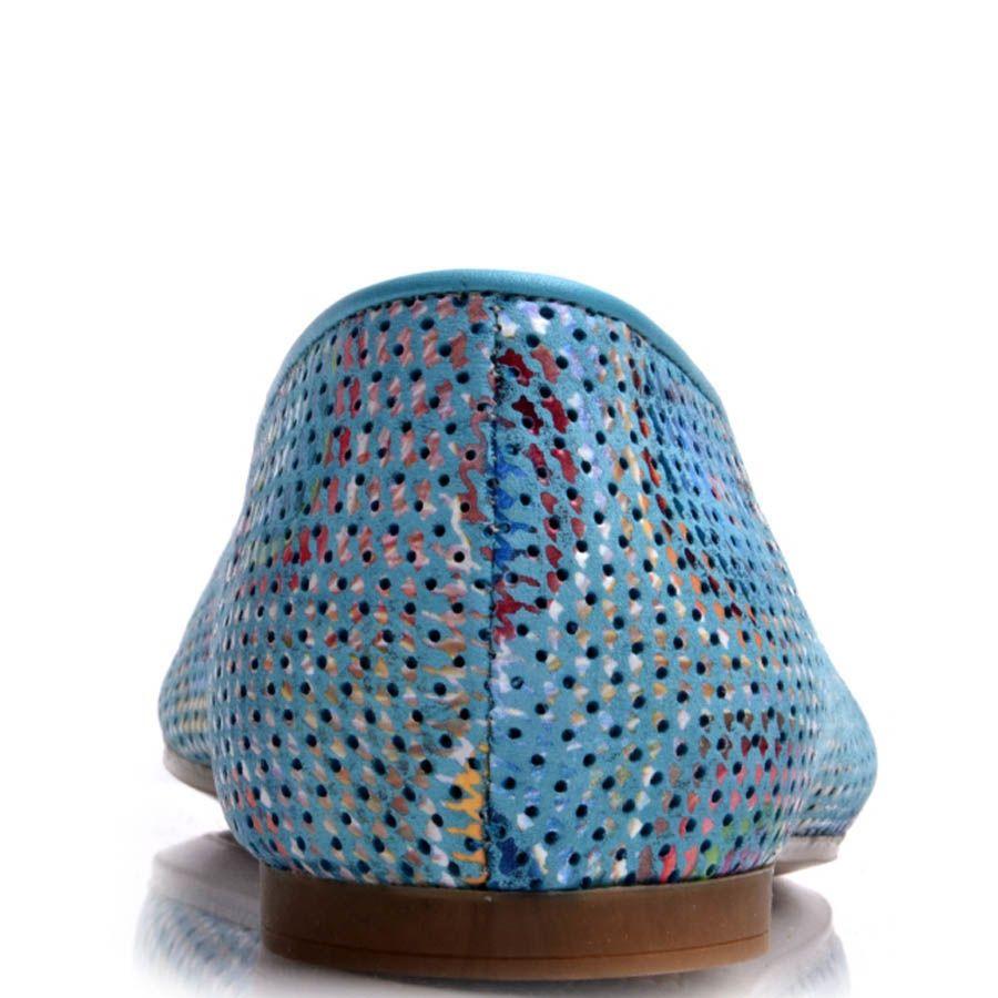 Слиперы Prego голубого цвета с узорами и кисточками