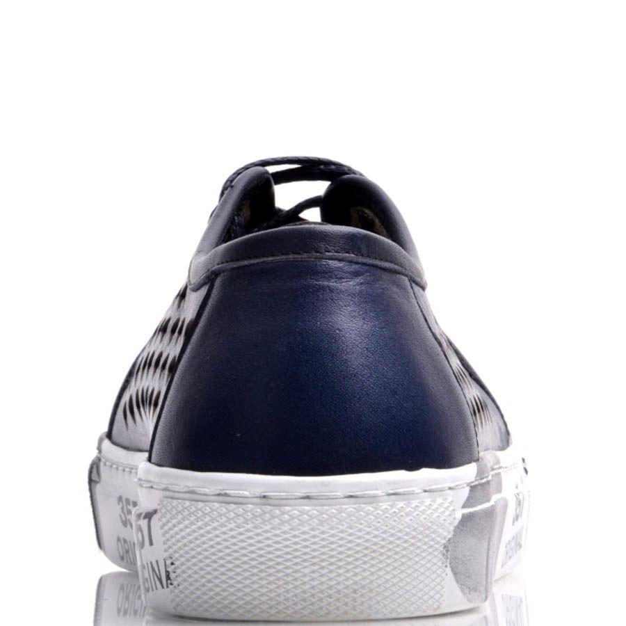 Кеды Prego женские кожаные синего цвета на толстой подошве