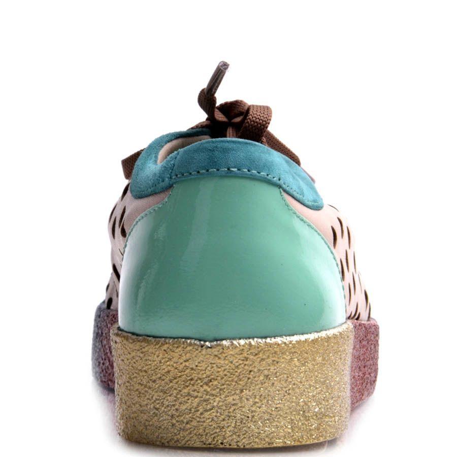 Кеды Prego женские с перфорацией по бокам и радужной подошвой