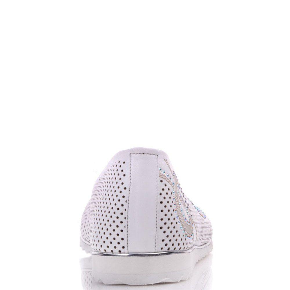 Туфли Prego из перфорированной белой кожи украшенные стразами