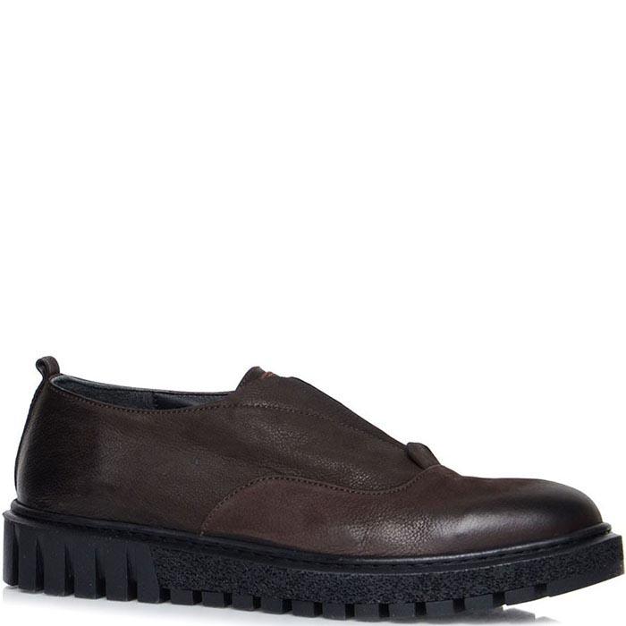 Туфли Prego коричневого цвета на толстой подошве со вставкой-резинкой