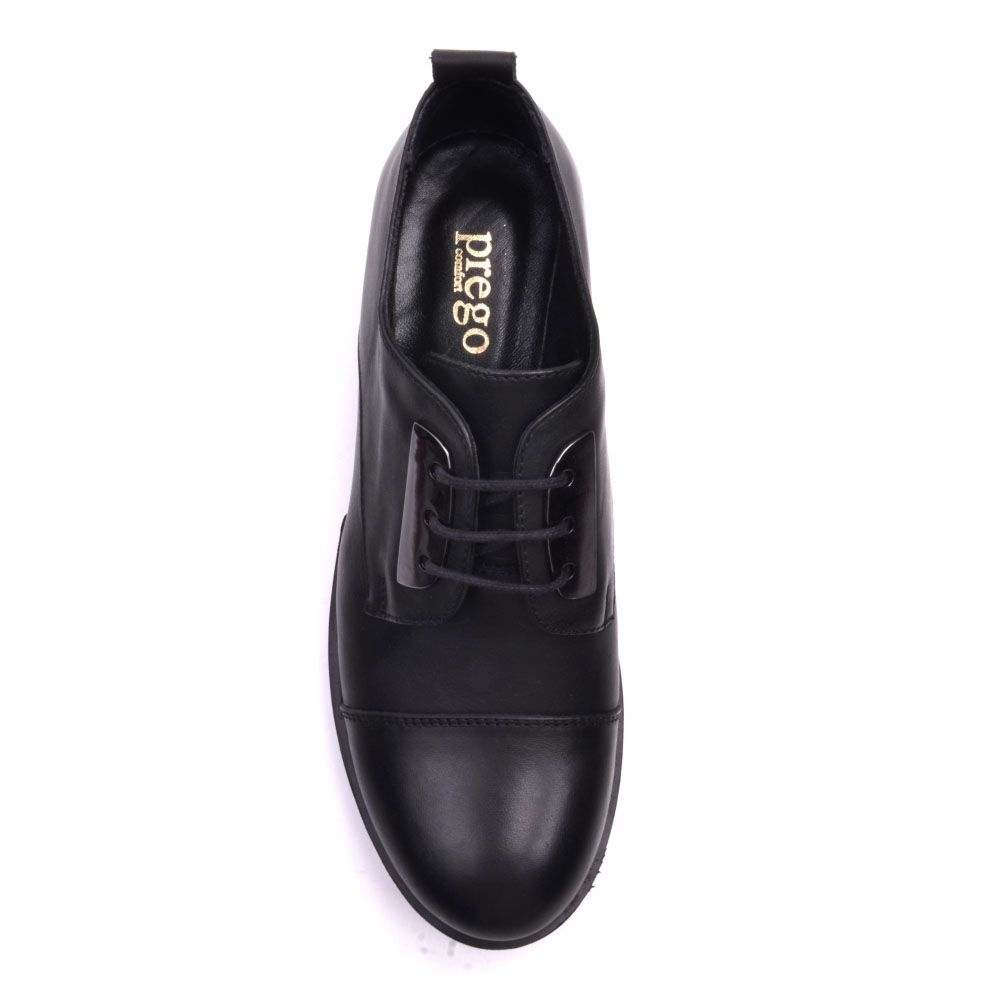 Ботинки Prego из натуральной кожи черного цвета с круглым носочком и металлическим декором