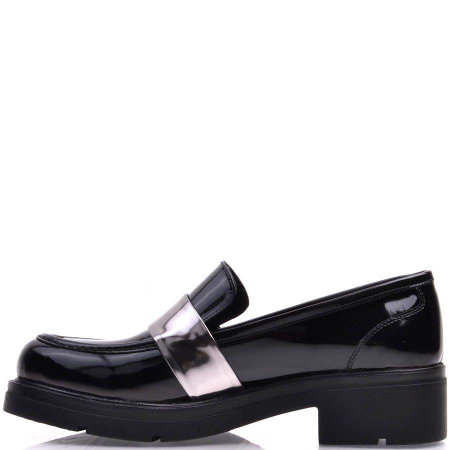 Лоферы Prego лаковые черного цвета с серебристой перемычкой