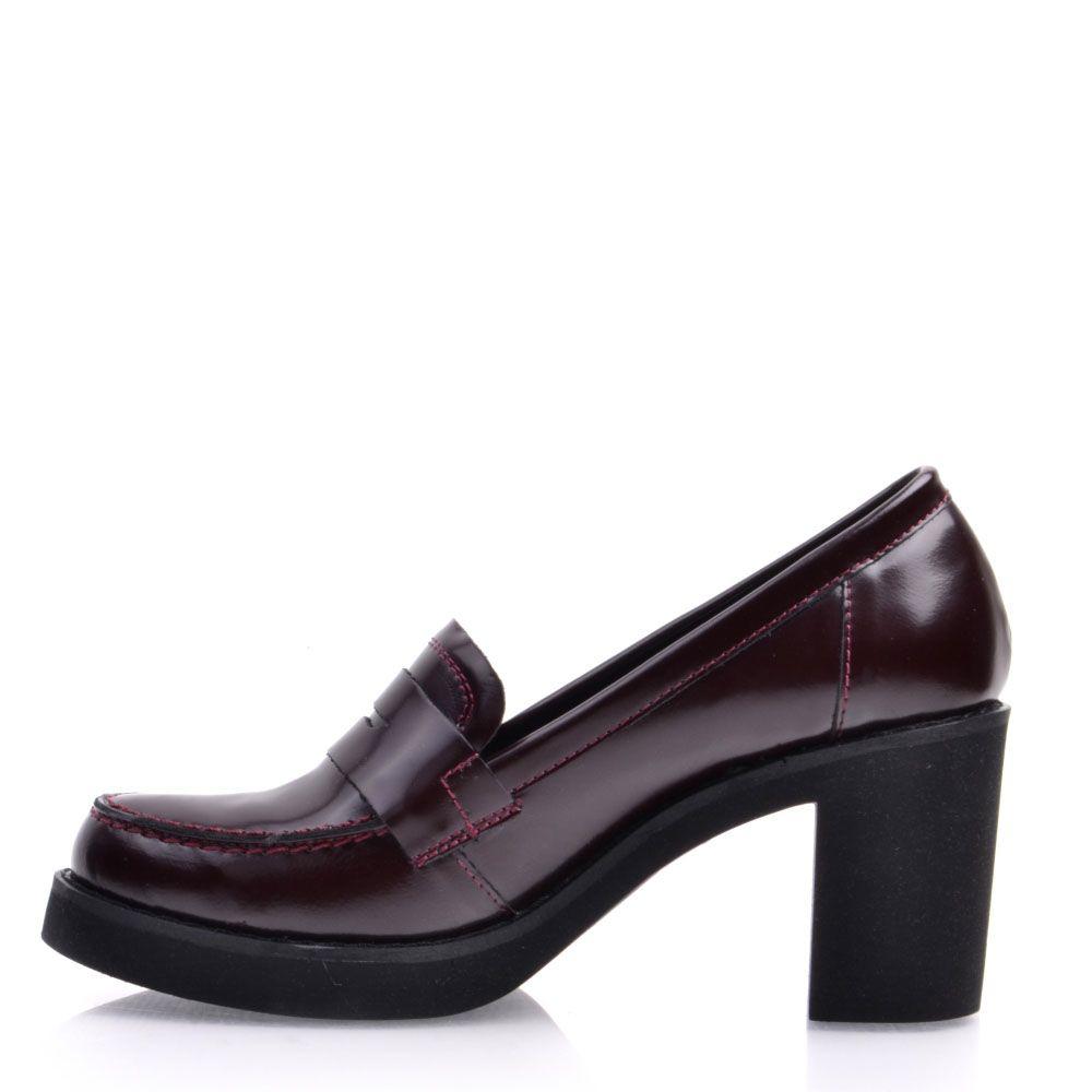 Туфли-лоферы Prego из натуральной глянцевой кожи бордового цвета на высоком устойчивом каблуке