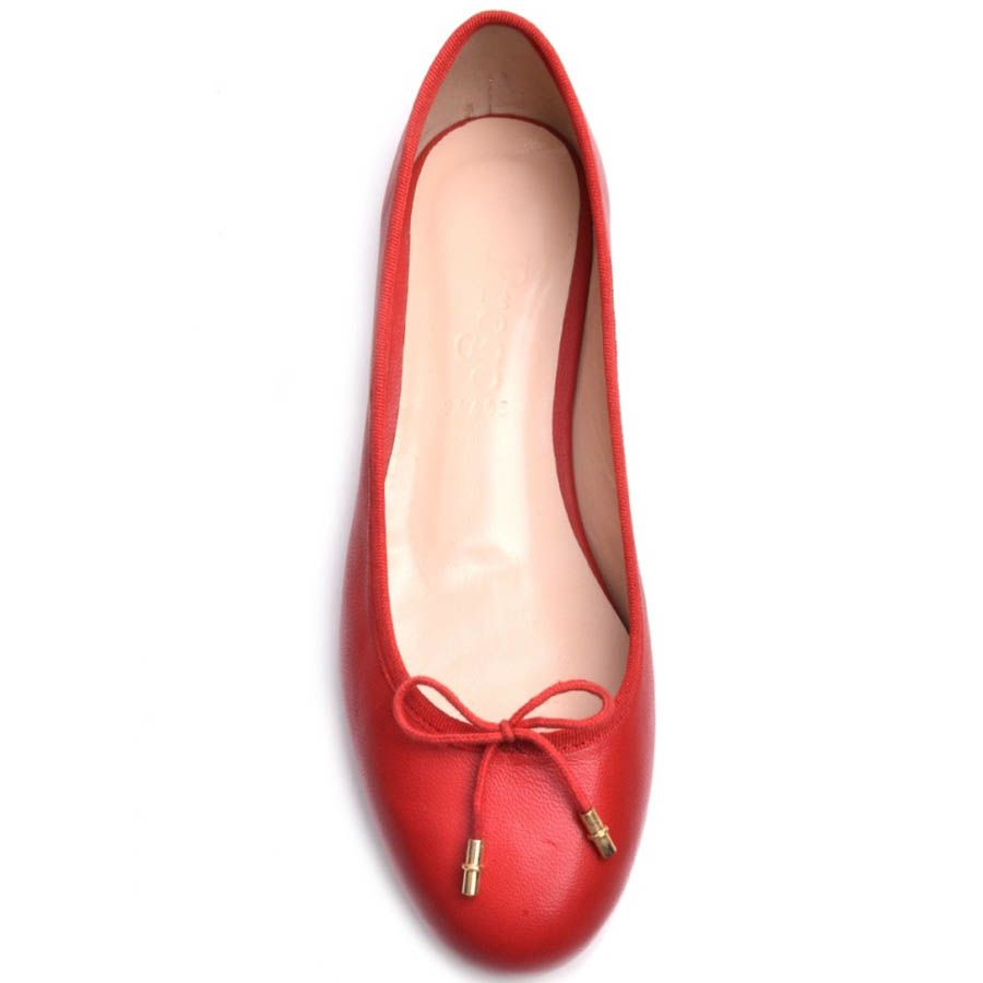 Балетки Prego красного цвета из гладкой кожи с бантиком