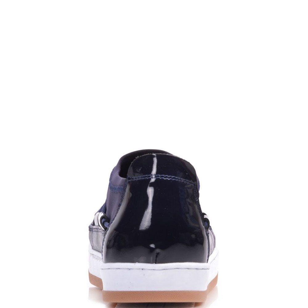 Кожаные кеды Prego синего цвета на бело-коричневой подошве