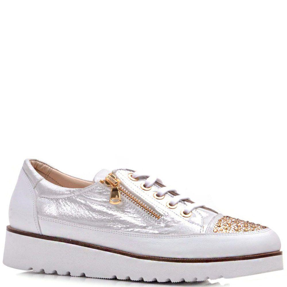 Туфли Prego из натуральной кожи серебристого цвета с золотистыми стразами