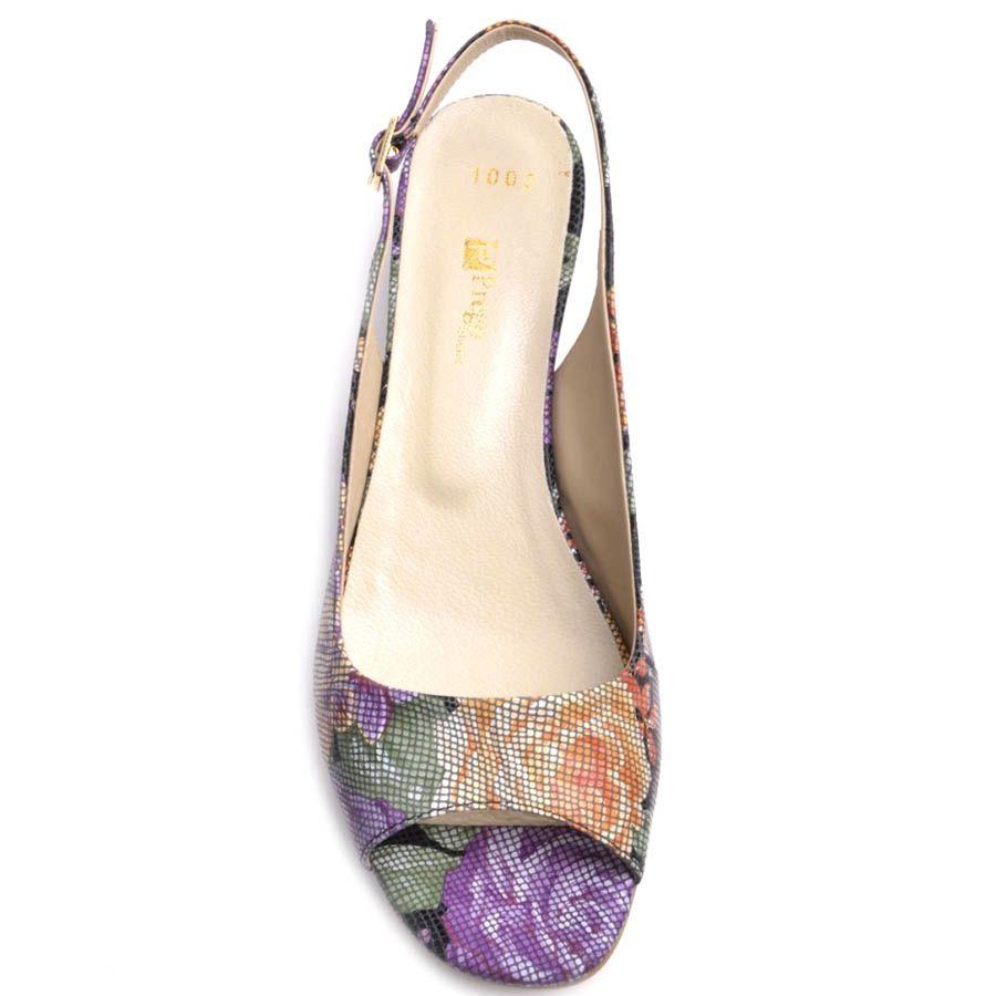 Босоножки Prego с цветочным узором на устойчивом каблуке