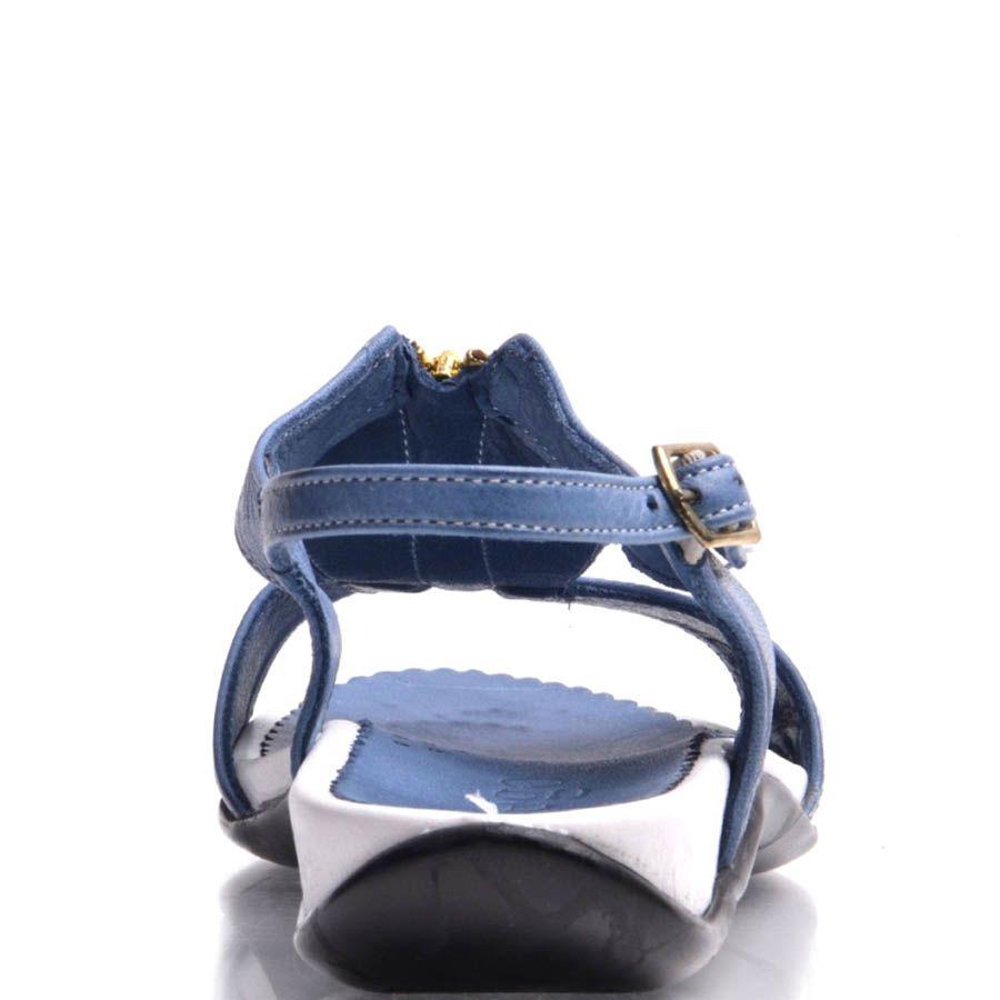 Сандалии Prego кожаные синего цвета с золотистой молнией