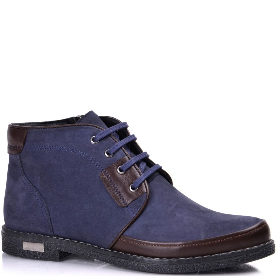Женские ботинки Phany из синего нубука с темно-коричневым кожаным декором