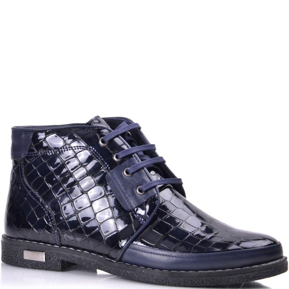 Кожаные ботинки Phany темно-синие лаковые с текстурой под крокодила