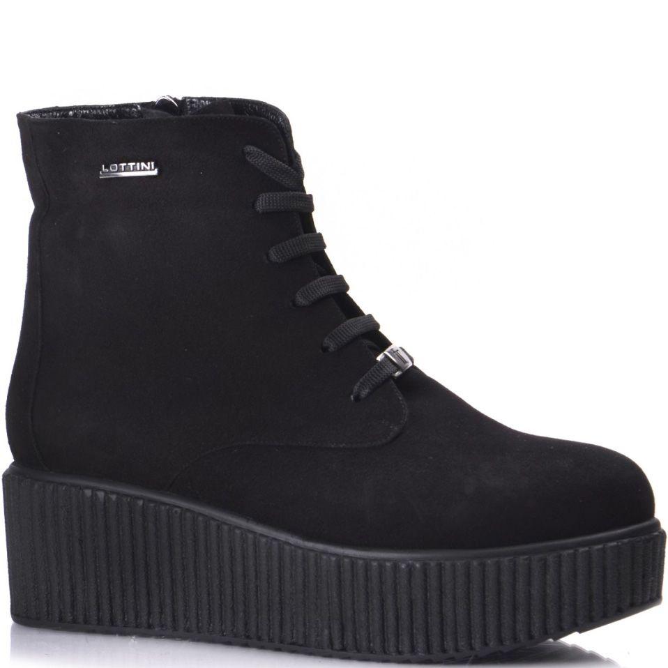 Черные замшевые женские ботинки на рифленой платформе Lottini на молнии
