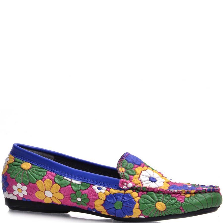 Мокасины Prego женские в разноцветные цветы  с синей оконтовкой