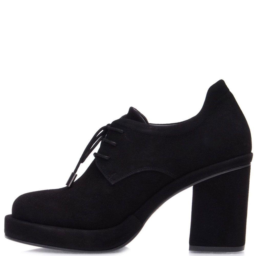 Замшевые ботильоны Prego черного цвета на устойчивом каблуке с круглым носочком