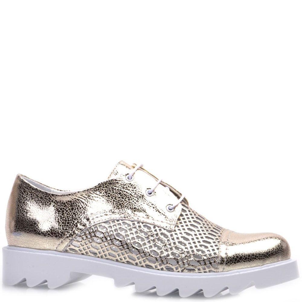 Туфли Prego из натуральной кожи золотистого цвета на белой подошве