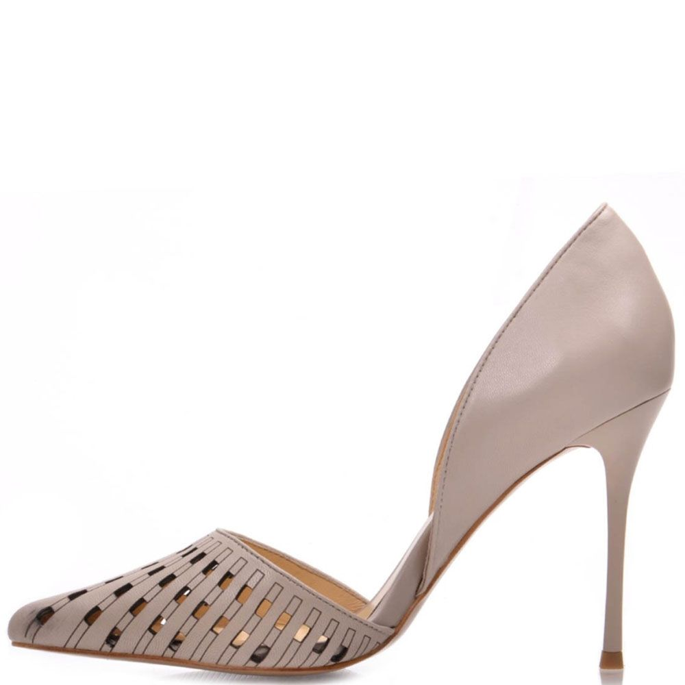 Бежевые туфли Prego из натуральной кожи с перфорированным носочком на шпильке