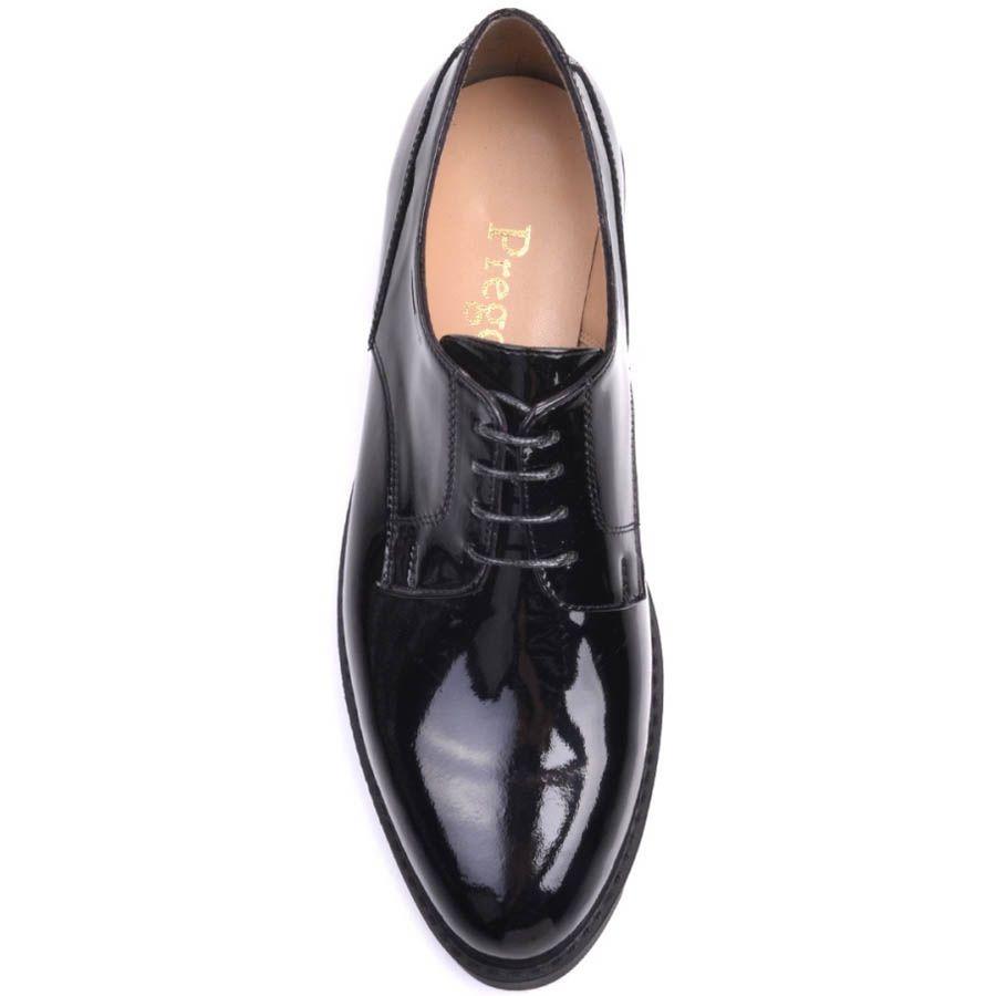 Туфли Prego лаковые черного цвета с подошвой в виде острых рельефов