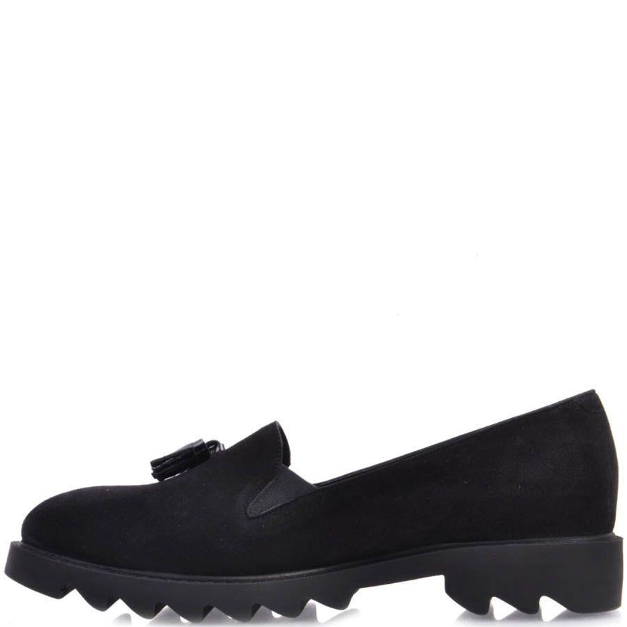 Лоферы Prego замшевые черного цвета с кисточками и с рельефной подошвой
