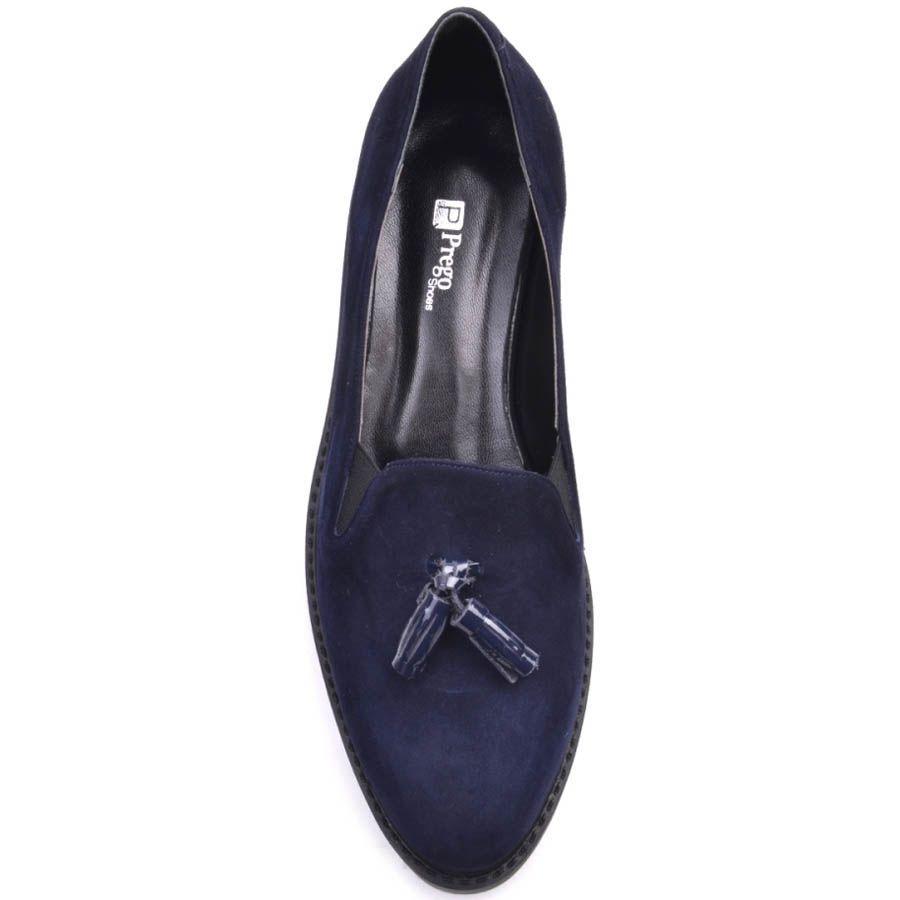 Лоферы Prego замшевые синего цвета с кисточками и с рельефной подошвой