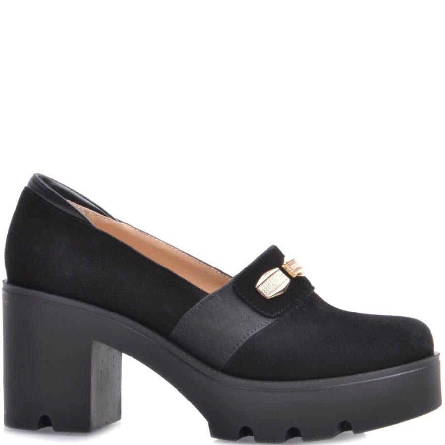 Туфли Prego замшевые на толстом каблуке с перемычкой украшенной золотистыми вставками