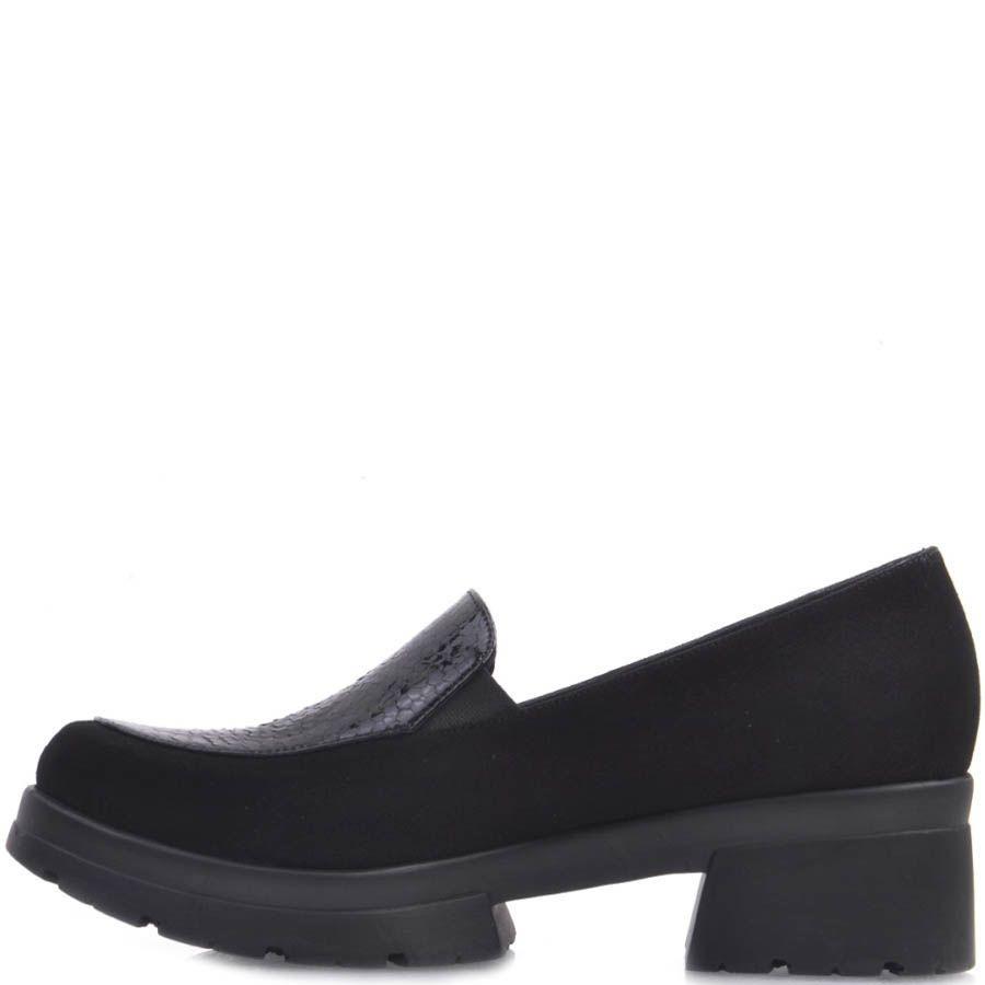 Туфли Prego замшевые черного цвета с лаковой вставкой под кожу змеи