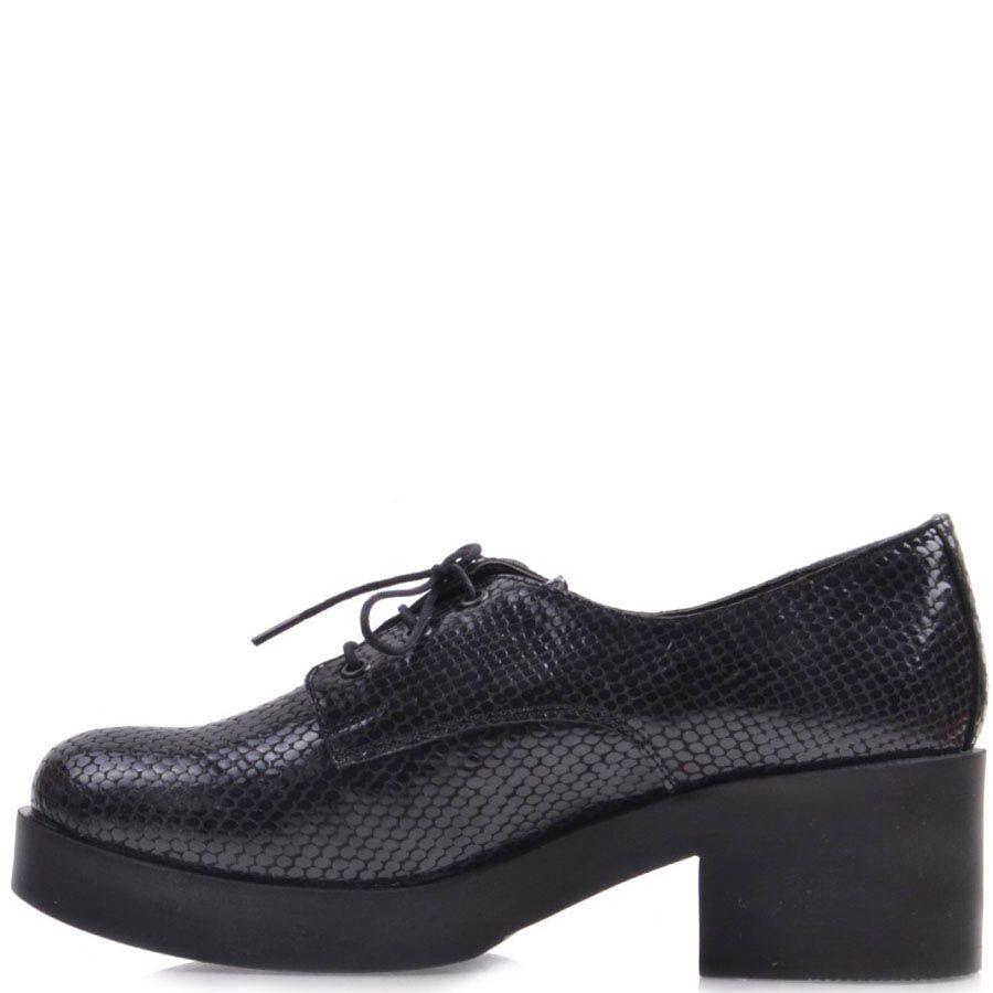 Ботинки Prego темно-синего цвета на толстом каблуке лаковые под кожу змеи