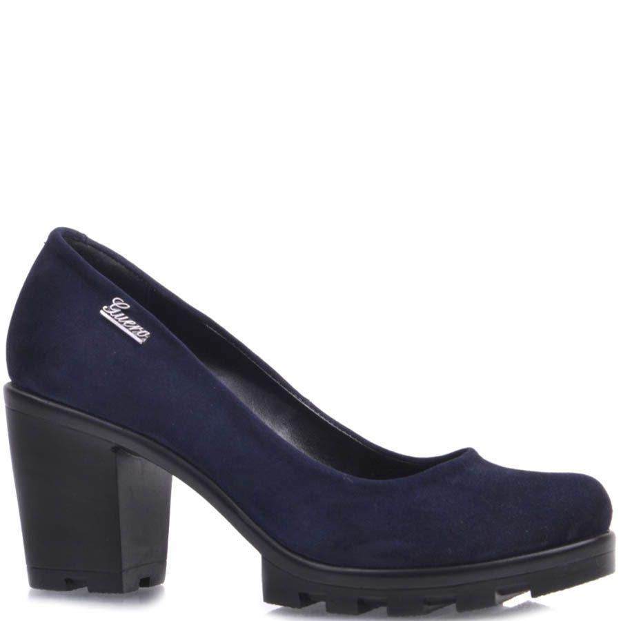 Туфли Prego замшевые темно-синего цвета с устойчивым каблуком и рельефной подошвой